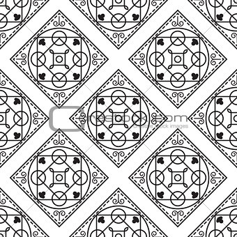 Portuguese black and white mediterranean seamless tile pattern.