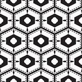 Black and white mediterranean seamless tile pattern.