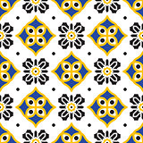 Black and yellow mediterranean seamless tile pattern.