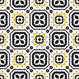 Black and white mediterranean seamless ceramic tile pattern.