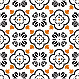 Ceramic black and white mediterranean seamless tile pattern.
