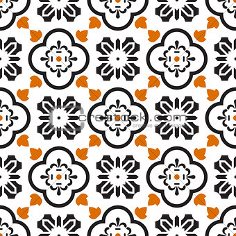 Ceramic black and white mediterranean seamless tile pattern.