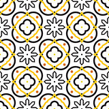 Azulejos black and white mediterranean seamless tile pattern.