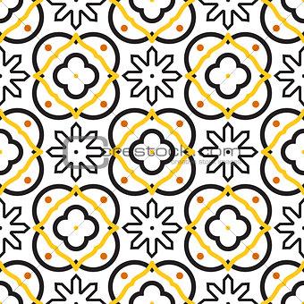Azulejos black and white mediterranean seamless tile pattern.