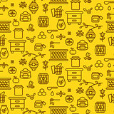 Honey outline icon seamless vector pattern.