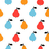 Dotted pear seamless blue and red pattern on white.