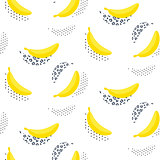 Banana pop art seamless vector pattern on white.