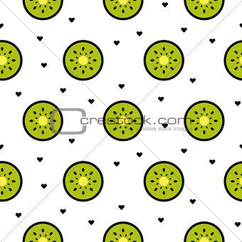 Kiwi fruit slices seamless green pattern on white.