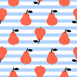 Red pear seamless blue striped pattern on white.