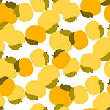 Apricot seamless vector pattern on white.