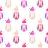 Pink pineapple seamless fruit pattern.