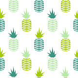 Green pineapple seamless fruit pattern.