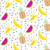 Summer fruit pattern with bananas, pineapples and watermelon.