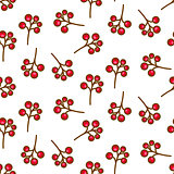 Red currant berry seamless pattern on white.
