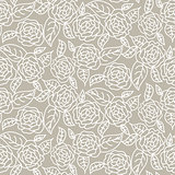 Drawn line rose wedding seamless vector pattern.