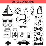Little gentleman outline vector icons.