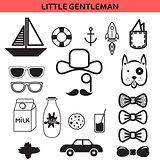 Little gentleman outline vector icons.