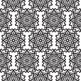 Mandala lace black seamless pattern.