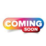 Coming Soon rainbow button vector