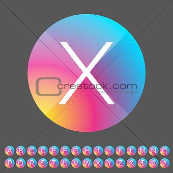Alphabet letters colorful button