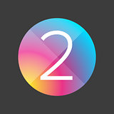 Number two colorful button