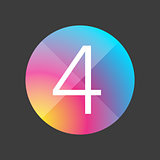 Number four colorful button