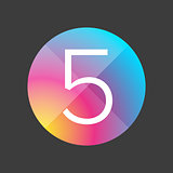 Number five colorful button