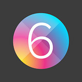 Number six colorful button