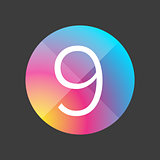 Number nine colorful button