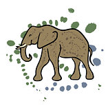 Elephant hand drawn clip art