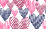 Seamless pattern textile hearts background