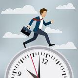 Man in suit runs to work.