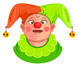 Funny baby clown head