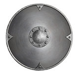 metal medieval viking round shield isolated on white 3d illustration