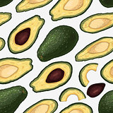 Seamless pattern with hand drawn colorful engraved avocado isolated on white background.