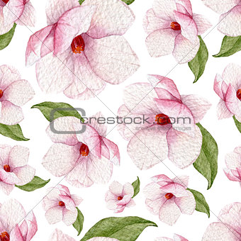 Watercolor spring seamless pattern with magnolia flowers and leaves.Blossoms background.