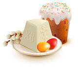 Russian Easter cake, cottage cheese, colorful eggs and willow branch