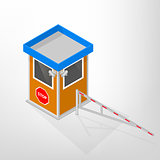 Security lodges with a mechanical barrier isometric, vector illustration.