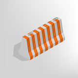 Iron concrete block isometric, vector illustration.