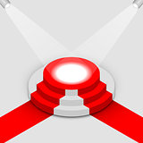 Illuminated round podium isometric, vector illustration.