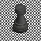 Black chess piece rook isometric, vector illustration.