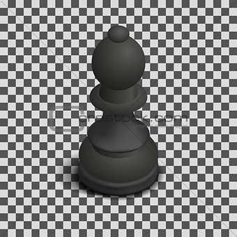 Black chess piece bishop isometric, vector illustration.
