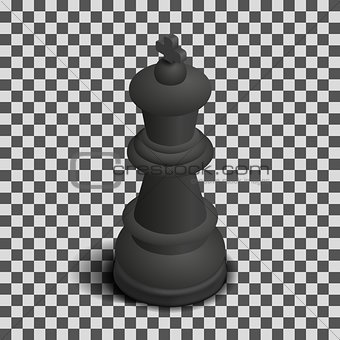 Black king chess piece isometric, vector illustration.