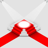 Illuminated square podium isometric, vector illustration.