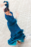 Motion Blur Shot of Traditional Woman Spanish Flamenco Dancer
