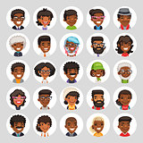 Flat African American Round Avatars on White
