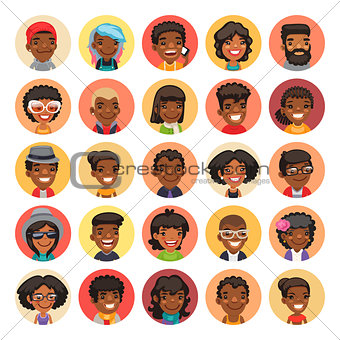 Flat African American Round Avatars on Color