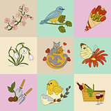 Spring thin line colored vector icons.
