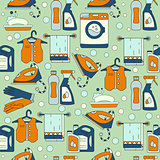 House cleaning seamless vector pattern.