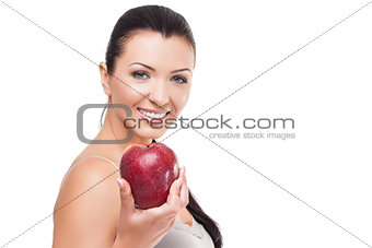 Beautiful girl with red apple